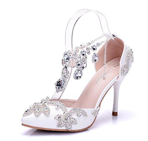 Frau Braut Hochzeit Größe Knöchel Hacke Gurt Spitz 35 Spitze Kleid Sandalen Abend Strasssteine Gericht Schuhe Damen Hoch Frühling 41 Pumps Weiß Iqqgd