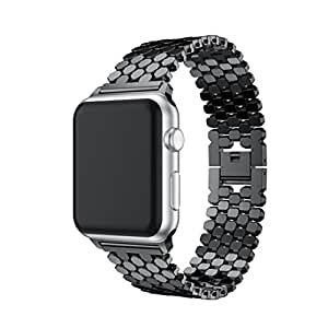 YRD TECH Apple Watch, New Stainless Steel Watch Band Replacement Strap For Apple Watch Series 3 38MM,black,Gold ,Rose Gold,silver (black)