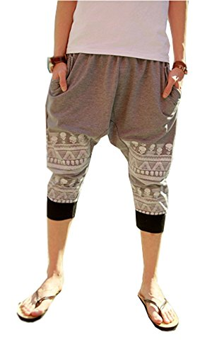Mens Loose Casual Hipster Cotton Harem Calf-Length Pants