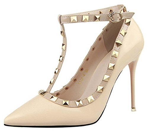 HooH Women's Ankle Strap Rivet Stiletto Wedding Pumps 1132-8 Nude kNQI0P