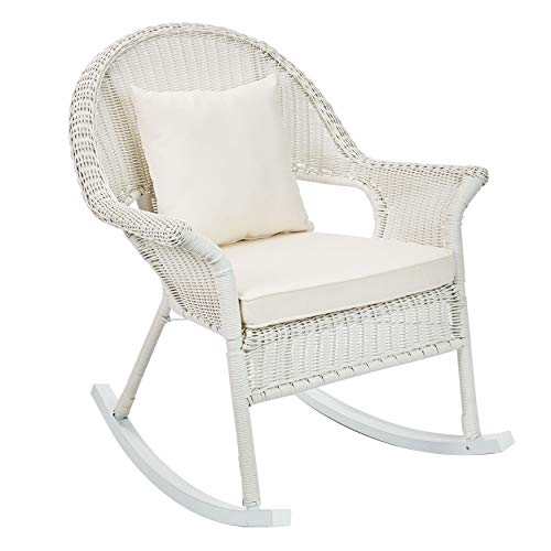 BrylaneHome Roma All-Weather Rocking Chair - White (Wicker White Lounge Chair)