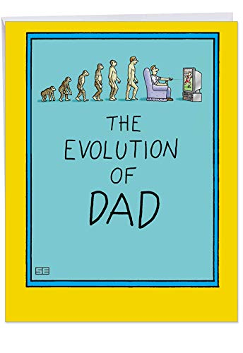 (Funny 8.5 x 11 Inch Father's Day Card with Envelope - 'Evolution of Dad' - You Have Come a Long Way - Appreciation Gift to Dad and Fathers from Daughter,)