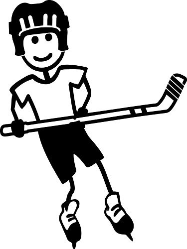 Stick Family Boy Playing Hockey Sticker White - Die Cut Decal Bumper Sticker for Windows, Cars, Trucks, Laptops, ()