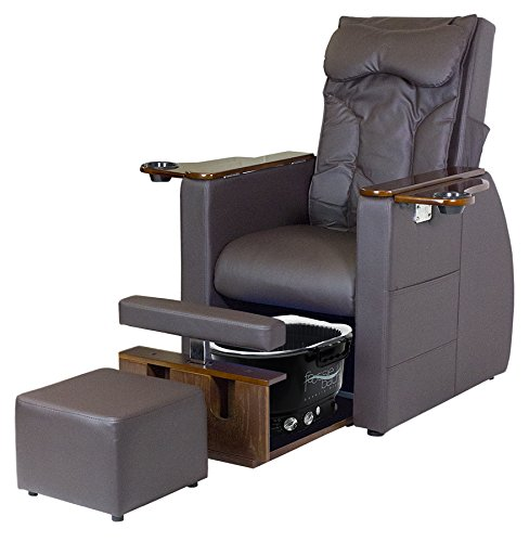 Skin Act Calvin Pedicure Chair (No Plumbing Pedicure Spa)(Dark Brown) with Matching Stool