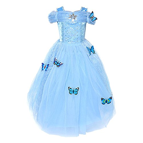 loel Cinderella Dress Princess Costume Simulation Butterfly Dress,140cm for 6-8 Years Blue