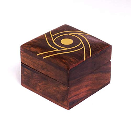 - Hashcart Indian Artisan, Handmade & Handcrafted Wooden Jewelry Box/Jewelry Storage Organizer/Trinket Jewelry Box with Traditional Design and Brass Inlay Work
