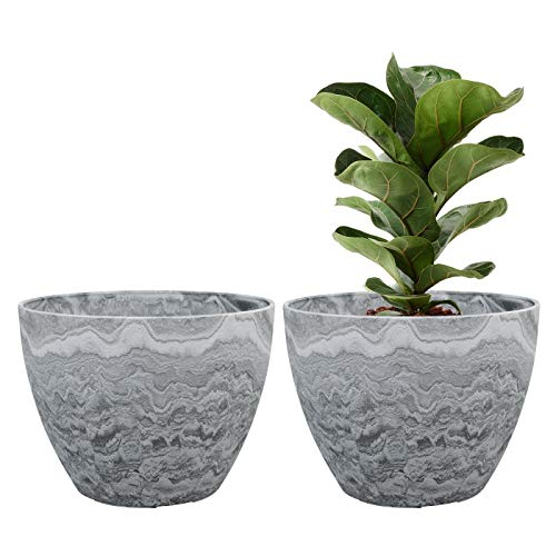 Flower Pot Garden Planters 12 Inch Pack 2 Outdoor Indoor, Resin Plant Containers with Drain Hole (Marble) ()