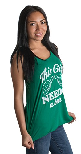 Patricks Day Womens Tank Top - This Girl Needs a Beer | Women Racerback St. Patrick's Day Irish Paddy Tank Top-Women,L