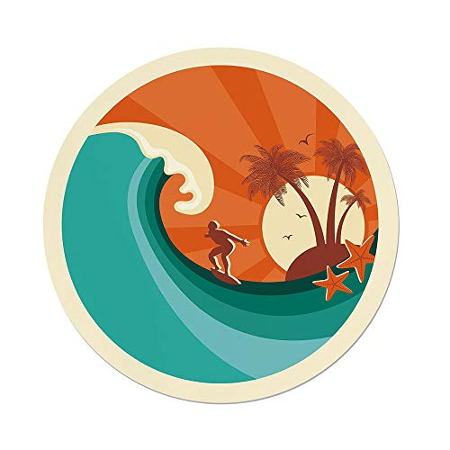 Island Wicker Man (iPrint Polyester Round Tablecloth,Ride The Wave,Retro Man Surfing at Beach Island Coconut Palm Trees Illustration,Teal Vermilion Cream,Dining Room Kitchen Picnic Table Cloth Cover,for Outdoor Indoor)