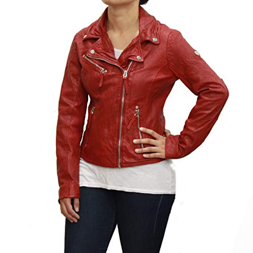 Biker rojo suave cuero para de Brando mujeres estilo Corta atwqda