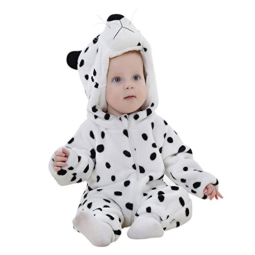 Cute Bear Jumpsuit Costumes (Birdfly Unisex Baby Cute Flannel Romper Zip Up Hoodie Jumpsuit Toddler Animal Costume Winter Cozy Outfits (24M, Snow Panther))