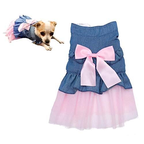 Petea Bowknot Cowboy Gauze Tutu Dog Dress Vest Apparel Skirt Clothes Pet Puppy Birthday Princess Dress Clothes for Dogs…