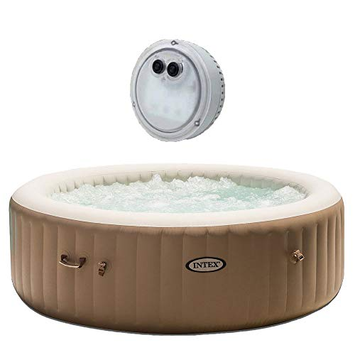 Intex Inflatable Pure Spa 6-Person Portable Heated Bubble Jet Hot Tub | 28407EIntex PureSpa Battery Multi-Colored LED Light for Bubble Spa Hot Tub Jacuzzi (What's The Best Inflatable Hot Tub)