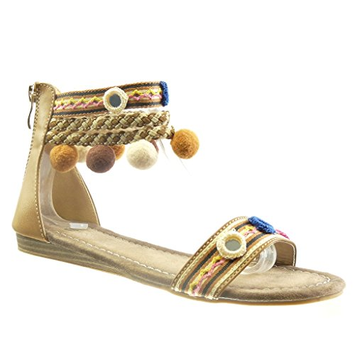 Angkorly Women's Fashion Shoes Sandals - Open - Pom Pom - Multi Straps - Braided Block Heel 1.5 cm Beige ifKpQ