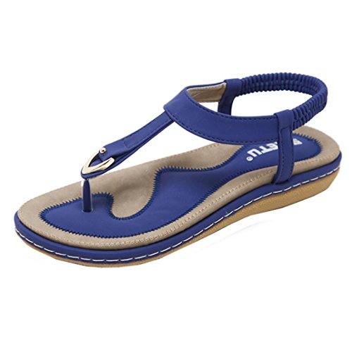 vermers Clearance Sale Women Outdoor Flat Shoes Lady Bohemia Rivet Peep-Toe Slipper Sandals(US:8.5, Blue) by vermers