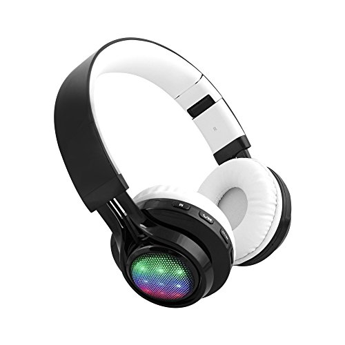 Alltrum Wireless Over-Ear Headphone Wireless Headsets for Sports, LED Light, Lightweight Style,Built-in Microphone, SD Slot, FM, Wired Modes for Smartphones / PC / Tablets,Blavk and White by Alltrum