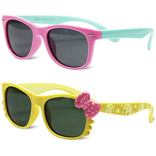 Sunglasses Kids (Kids Polarized Cat Eye Aviator Sunglasses for Girls Boys Children Pack of 2)