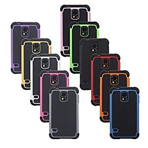 Angibabe 3 in 1 Mobile Phone Shell Football Grain Triple Shock Drop Resistance Silicone Case for Samsung Galaxy S5 / i9600