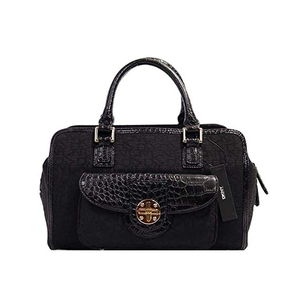 DKNY Women's Logo Turn Lock Satchel Doctor Bag Handbag