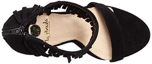 La Strada Black Cow Suede Sandal, Women's Open Toe Sandals Black - Schwarz (0001 - Cow Suede Black)