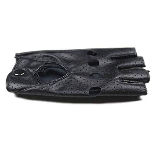 Black PU Half Finger Driving Show Women Gloves Fashion Punk Jazz Fingerless Gloves For Women Female ()