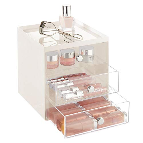 mDesign Plastic Makeup Organizer Storage Station Cube with 3 Drawers for Bathroom Vanity, Cabinet, Countertops – Holds…