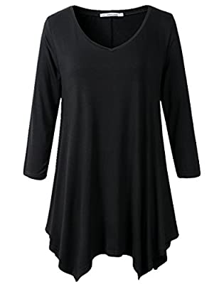 JollieLovin Womens Plus Size 3/4 Sleeve V-neck Flare Hem Loose-fit Tunic Top