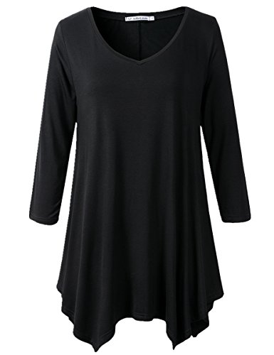 JollieLovin Womens Plus Size 3/4 Sleeve V-neck Flare Hem Loose-fit Tunic Top (3X, A BLACK)