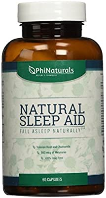 Natural Sleep Aid | With Melatonin, GABA, Valerian Root, Passion flower, Skullcap & Chamomile | Sleeping Pills Alternative by Phi Naturals by Phi Naturals