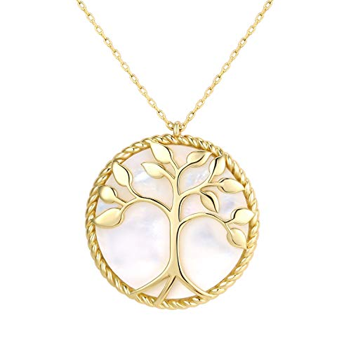 (KISSPAT 14K Gold Round Pendant Necklace Tree of Life Mother of Pearl Shell Fashion Jewelry for Women)