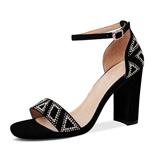 Abierta Zapatos Tacón uk jp Sandalias 39 De Jianxin Cremallera Tamaño Genuino Eu Alto Femeninas 8 6 Grueso Negro Punta color Cuero 25cm Verano Con Negro us gwOX1xI1q