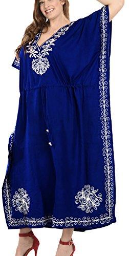 notte delle lungo donne da caftano rayon Blu LEELA caftano profondo LA scollo j831 usura progettista spiaggia del vestito z8Znwq65n