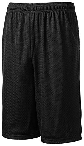 Sport-Tek Men's Extra Long PosiCharge Classic Mesh Short L Black -