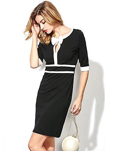 PU&PU Robe Aux femmes Gaine Sexy / Street Chic,Mosaïque Col en V Mini Polyester , black-xl , black-xl