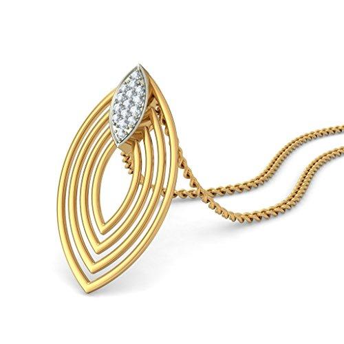14K Or jaune 0.12CT TW Round-cut-diamond (IJ | SI) Pendentif