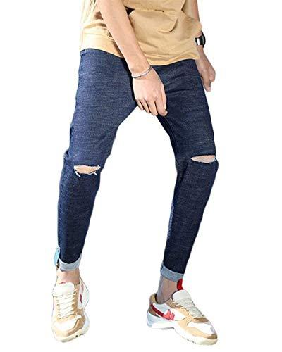 Fori Skinny Stretch Pants Chiaro 1808blau Strappati Fit Cher Uomo Da Slim Jeans Di Colore Pantaloni Lavati rfOAqHr