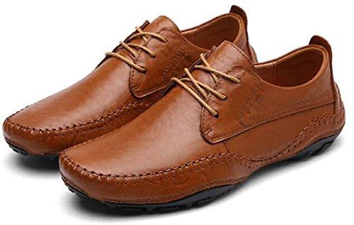 Leather Lazy Men's New Shoes Brown JACKDAINE Soft Genuine Driving Casual Shoes Shoes Men dfqwXxt
