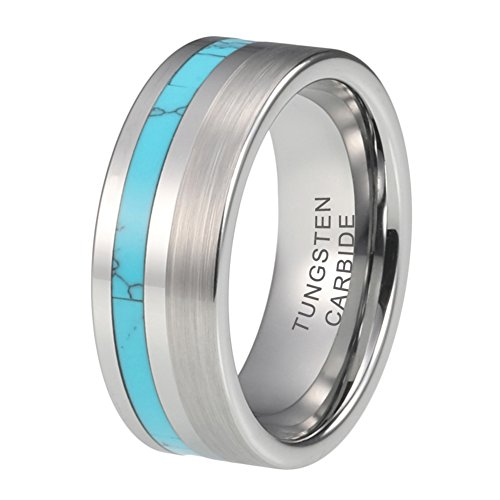 Blue Turquoise Inlay Ring - iTungsten 8mm Wedding Bands Tungsten Carbide Rings for Men Women Brushed Polished Blue Turquoise Inlay Comfort Fit