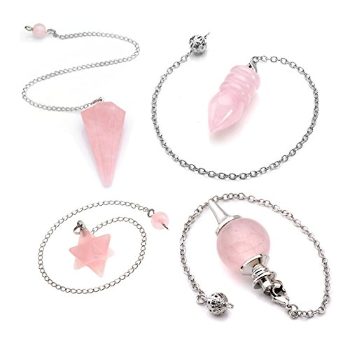 Top Plaza 4 Pcs Natural Rose Quartz Crystal Dowsing Point Pendants Divination Metaphysical Chakra Healing Balancing Pendulum