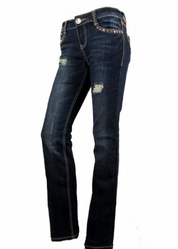 Crystal Pocket Stretch Jeans (La Idol Women Bootcut Jeans Distressed Crystal Tribal Pocket Stretch in Blue)