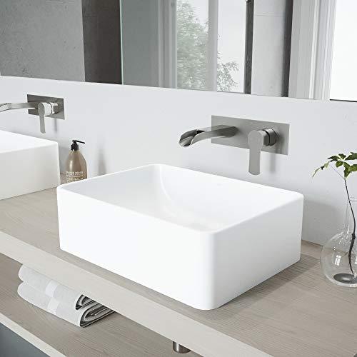 (VIGO Amaryllis Matte Stone Vessel Bathroom Sink Set With Cornelius Wall Mount Bathroom Faucet In Brushed Nickel)