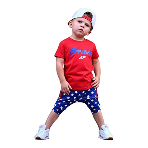 2Piece Kids Clothing Sets Baby Boys Casual Short Sleeved Letter T Shirt with Flag Shorts for Toddler Patriotic Outfits Red -
