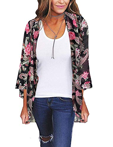 Womens Kimono Cardigan Beach Cover Up Floral Chiffon Loose Capes (Flower,XL) ()