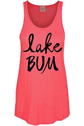 COLORBEAR Women's Lake Bum Graphic Scoop Neck Tank Top, Coral, Medium (Girl Lake)