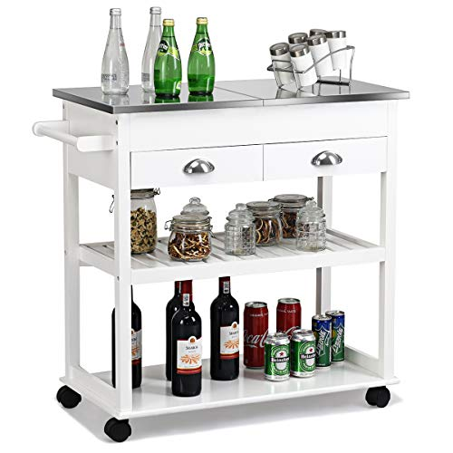 Giantex Kitchen Trolley Cart Rolling Island Cart w/Stainless Steel Flip Top Cutting Table 2 Drawers 2 Shelves Multipurpose Storage Cart Microwave Cart with Towel Rack and Casters (White) ()