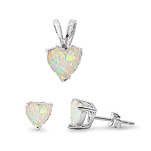 Lab Created White Opal Heart .925 Sterling Silver Earrings and Pendant Set (Diamond Created Opal Heart Ring)