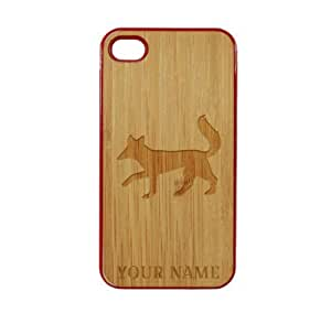 SudysAccessories Personalized Customized Custom Fox On Wood Engraved Red iPhone 4 Case - For iPhone 4 4S 4G - Designer Real Bamboo Back Case Verizon AT&T Sprint(Send us an Amazon email after purchase with your choice of NAME)