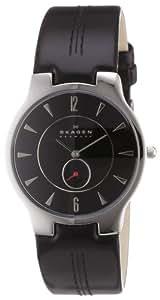 Skagen Men's 433LSLB Black Leather Watch