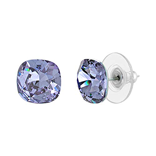 Devin Rose Cushion Solitaire Stud Earrings for Women in Stainless Steel made with Swarovski Crystal (Tanzanite Color)