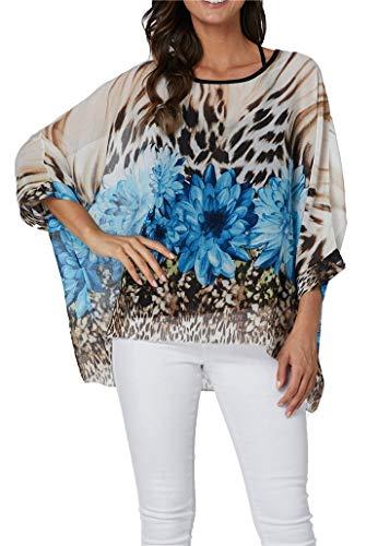 iNewbetter Women Bohe Off Shoulder Blouse Flair Chiffon Caftan Poncho Batwing Sleeve Tunic Top PB 344 (Pb Tunic)